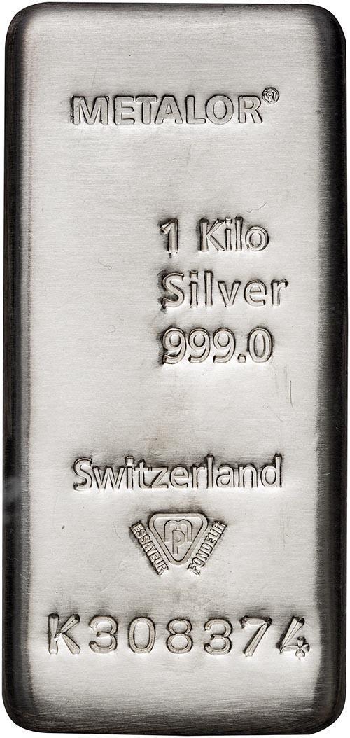 VAT Free Silver 1 Kilogram Metalor Bar - Storage Only