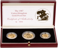 1987 3-Coin Gold Proof Sovereign Set Presentation Box