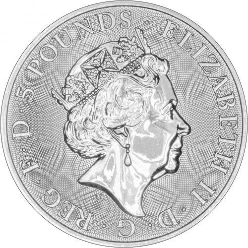 2016 U.K Lion BU in Capsule 5 Pound Silver Queen/'s Beast .999 2oz