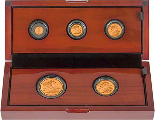 2015 Full Whole Coin Set Sovereign - 5 Coins Gold Proof Fourth Portrait Presentation Box