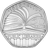2000 UK Coin 50p Silver Proof 	British Public Libraries 21473
