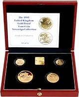 1995 4-Coin Gold Proof Sovereign Set Without Certificate Presentation Box