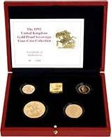 1992 Whole Coin Set Sovereign - Four (4) Coins Gold Proof w/o Box w/o Cert Presentation Box
