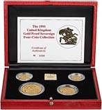 1991 Whole Coin Set Sovereign - Four (4) Coins Gold Proof Presentation Box