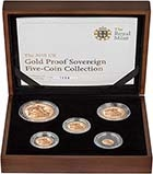 2010 5-Coin Gold Proof Sovereign Set Presentation Box