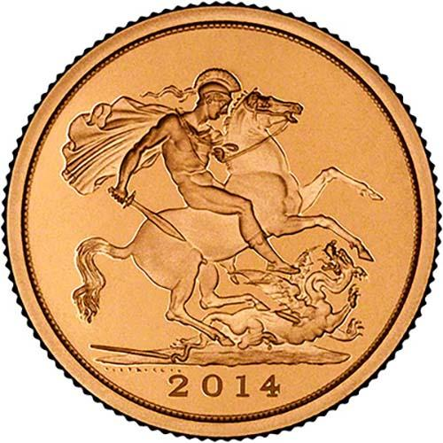 2014 Whole Coin Set Sovereign - 5 Coins Gold Proof Reverse