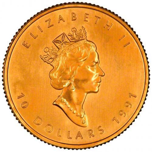 1991 0 25 oz Gold Coin Maple Bullion