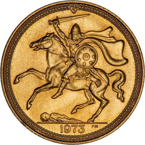 1973 Gold Isle of Man Half Sovereign Reverse