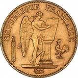 1871-1898 Gold French 20 Franc Bullion Angel 23362