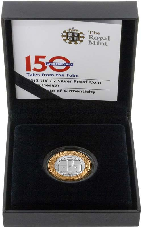 2013 UK Coin £2 Silver Proof London Underground - Train 21834