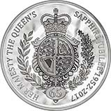 2017 5 oz UK Coin £10 Silver Proof Sapphire Jubilee 23288