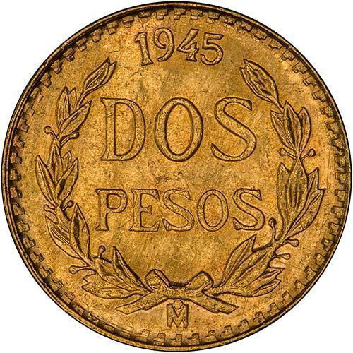 1945 Mexico Gold Dos Pesos BU Mexican Gold 2 Peso