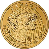 2015 Gold Canadian Two Hundred Dollars ($200) Growling Cougar 21516