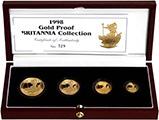 1998 Whole Coin Set Britannia - Four (4) Coins Gold Proof 22209
