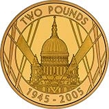 2005 UK Coin £2 Gold Proof 60th Anniversary End of World War II 24677