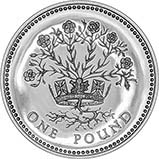 1986 UK Coin £1 Silver Proof Flax Plant 24321