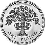1992 UK Coin £1 Silver Proof English Oak Tree 23699