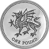 1995 UK Coin £1 Silver Proof Welsh Dragon 24176