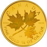 2001 Gold Canadian Ten Dollars ($10) Proof Leaf Hologram 23097