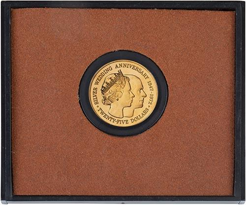 1972 Cayman Island Silver Wedding $25 Gold Proof Coin 23736