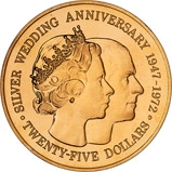 1972 Cayman Island Silver Wedding $25 Gold Proof Coin 23734