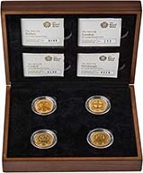 2010 - 2011 Whole Coin Set UK £1 - Four (4) Coins Gold Proof 22142