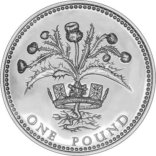 1984 UK Coin £1 Silver Proof Piedfort Scottish Thistle