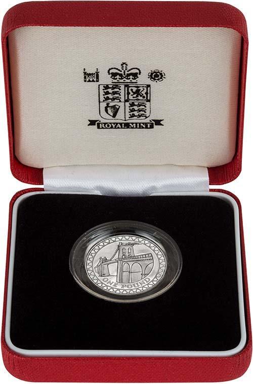 2005 UK Coin £1 Silver Proof Piedfort Menai Strait