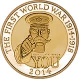 2014 UK Coin £2 Gold Proof Outbreak of WWI 22369