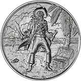 2 oz Silver Round Pirate Bullion Captain 21563