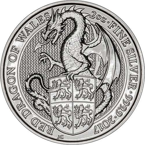 2017 2 oz Silver Monster Box Red Dragon Bullion - 200 Coins 24220