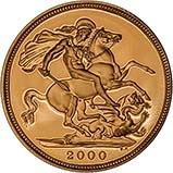 2000 Gold Full Sovereign Elizabeth II Proof w/o Box w/o Cert Reverse