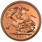 2001 Gold Full Sovereign Elizabeth II Proof w/o Box w/o Cert Reverse