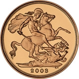 2003 Gold Full Sovereign Elizabeth II Proof w/o Box w/o Cert Reverse