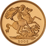 2006 Gold Full Sovereign Elizabeth II Proof w/o Box w/o Cert Reverse