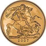 2007 Gold Full Sovereign Elizabeth II Proof w/o Box w/o Cert Reverse