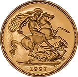 1997 Gold Sovereign Elizabeth II Proof w/o Box w/o Cert Reverse