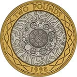 1998 UK Coin £2 Silver Proof Piedfort Bimetallic 21332