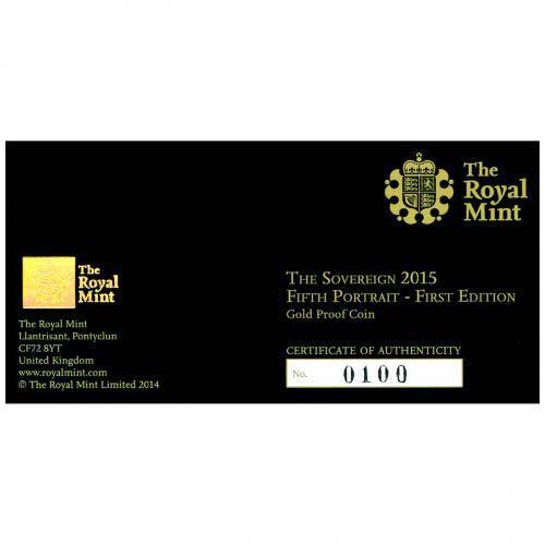 2015 Gold Full Sovereign Elizabeth II Proof Fifth Portrait 21024