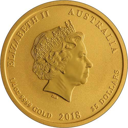 2018 0.25 oz Gold Coin Lunar Year of the Dog Perth Mint Bullion 22522