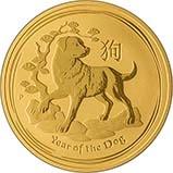 2018 0.25 oz Gold Coin Lunar Year of the Dog Perth Mint Bullion 22521
