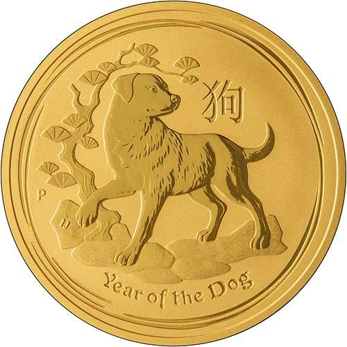 2018 0.1 oz Gold Coin Lunar Year of the Dog Perth Mint Bullion 22623