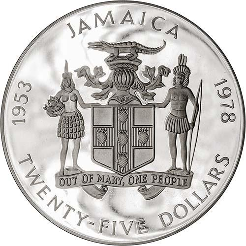 1978 Silver Jamaica Twenty Five Dollars ($25) Silver Proof Coronation Anniversary 22990