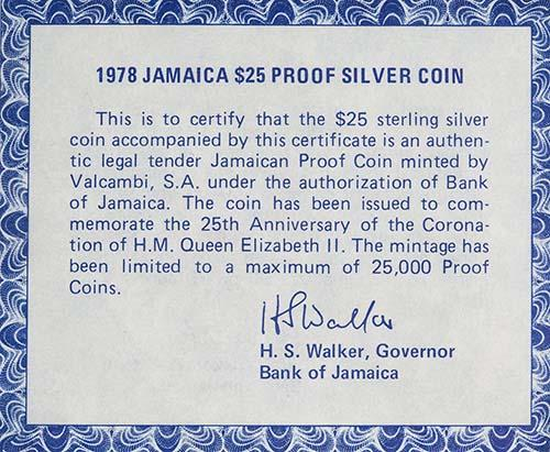 1978 Silver Jamaica Twenty Five Dollars ($25) Silver Proof Coronation Anniversary 22991