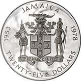 1978 Silver Jamaica Twenty Five Dollars ($25) Silver Proof Coronation Anniversary 22990