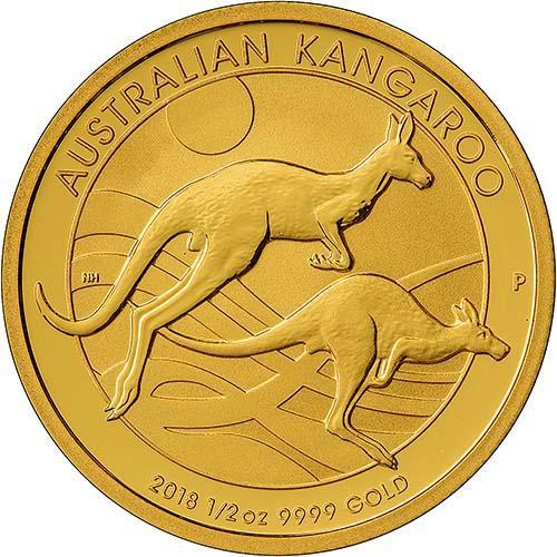 2018 0.5 oz Gold Coin Kangaroo Nugget Perth Mint Bullion 21055