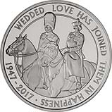 2017 UK Coin £5 / Crown Silver Proof Platinum Wedding 21627