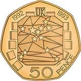 1992/93 UK Coin 50p Gold Proof European Presidency 21293