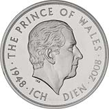 2008 UK Coin £5 / Crown Silver Proof Piedfort Prince Charles 60th Birthday 20905