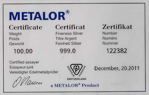 100g Silver Bar Metalor w/ Cert Pre-Owned 22304